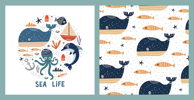 Illustration and seamless pattern with sealife