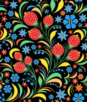Illustration of seamless pattern with traditional russian floral ornament.