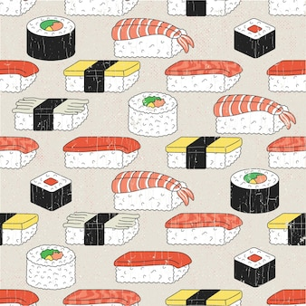 Illustration of a seamless sushi pattern.