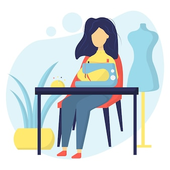 Illustration of a seamstress flower girl sews on a sewing machine dressmakers workplace