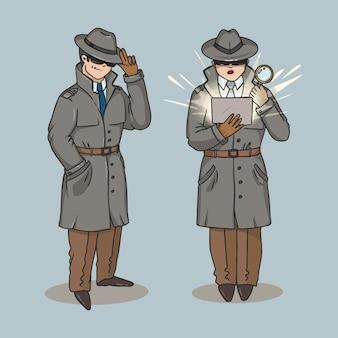Иллюстрация секретный агент, следователь, плащ детектив