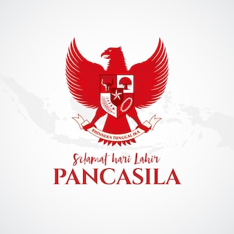 Illustration. selamat hari lahir pancasila. translation: happy pancasila day.