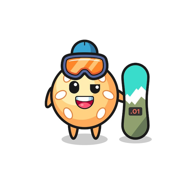 Illustration of sesame ball character with snowboarding style , cute style design for t shirt, sticker, logo element
