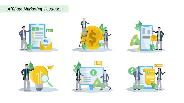 Illustration set of affiliate marketing promotes products and gets a fantastic database and income