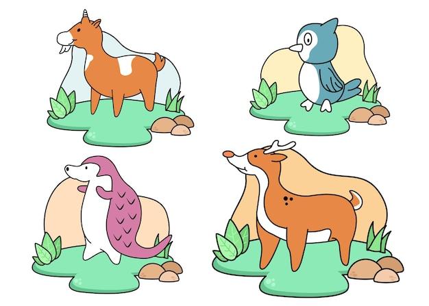 일러스트 세트 동물 귀여운 디자인