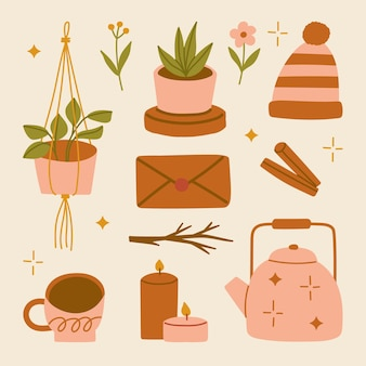 Illustration set of autumn home cozy elements scandinavian hygge style accessories fall flowers and leaves cinnamon envelope candle kettle hot drink hanging plant pot beanie hat