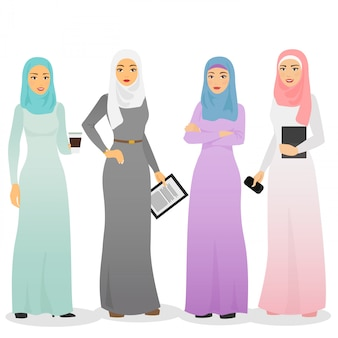 Illustration set of business arab women characters with hijab. muslim female people. Premium Vector