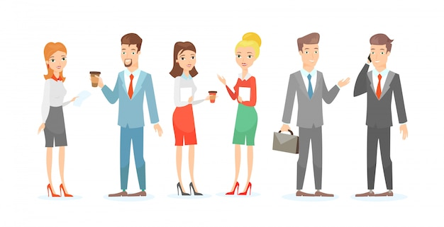 Illustration set of business characters. talking colleagues, businessman and businesswoman handshake, teamwork concept in  cartoon style.