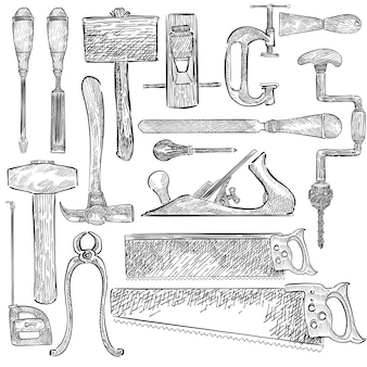 Illustration of a set of carpenter tools