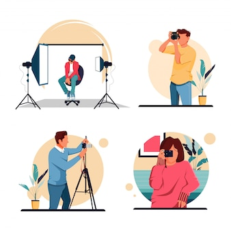 Illustration set of the character of the activity photographer, flat design concept