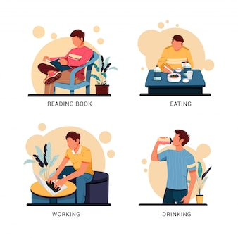 Illustration set of character of man activity, flat design concept