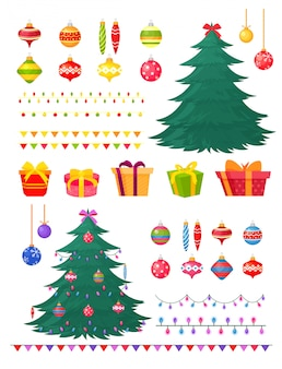 Illustration set of christmas decorations and gift boxes.