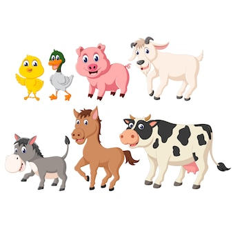 Illustration of set collection of farm animal