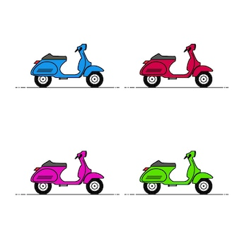 Illustration of set colorful classic scooters