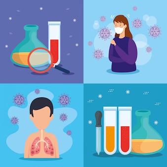 Illustration set of coronavirus 2019 ncov