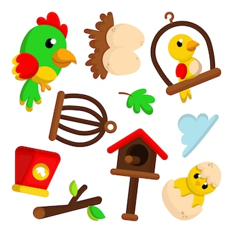 Illustration set of cute bird character and element with cartoon style