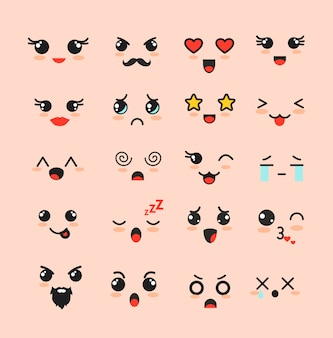 Illustration set of cute faces, different kawaii emoticons, emoji adorable characters icons  on white background.