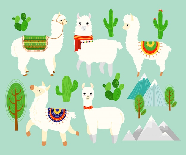 Illustration set of cute funny alpacas and llamas with cactus elements, mountains on blue background. lovely lamas in cartoon flat style.