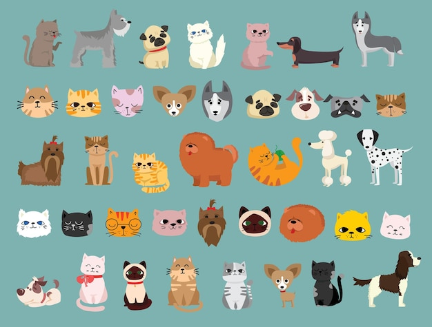 Illustration set of cute and funny cartoon pet characters.