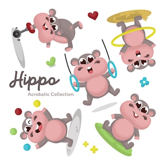 Illustration set of cute hippo character with acrobatic activity