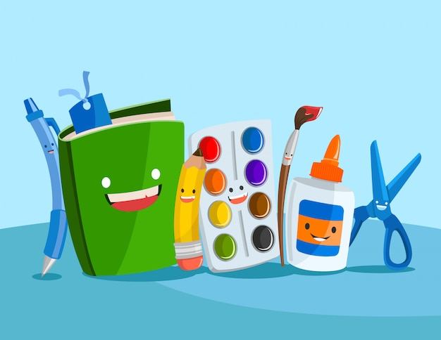 Illustration of a set of cute school supplies