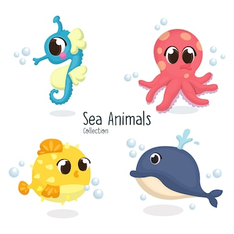 Illustration set of cute sea animals, seahorse, octopus, puffer fish, whale in cartoon