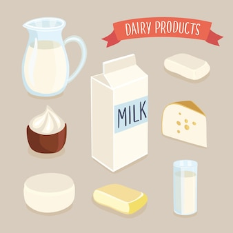 Illustration set of dairy production and hand writing lettering. milk jug, butter, a glass of milk, sour cream, cottage cheese, cheese, milk packaging