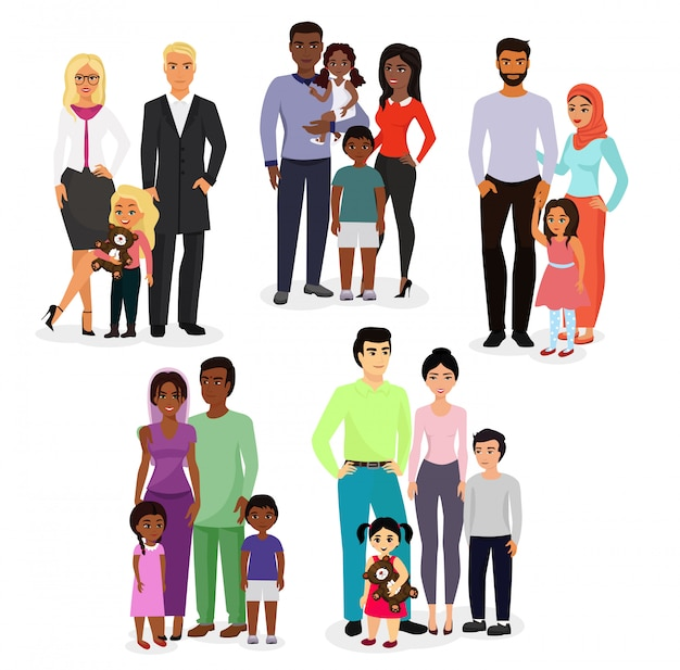 Illustration set of different nationals couples and families. people of different races, nationalities white, black and asian , ages, with baby, boy, girl happy and smiley on white background.