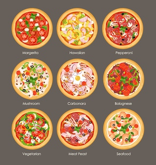 Illustration set of different pizza top view with ingredients. italian tasty and bright colors pizza, vegetarian, mushroom, hawaiian and meat feast in flat cartoon style on grey background.