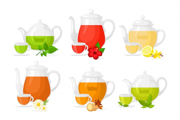 Illustration set of different types of tea. set of pots and cups with different ingredients herbs and lemon, fruits and ginger isolated on white background in flat style.