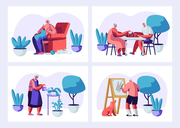 Illustration set of elderly characters having hobby and leisure fun.