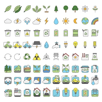Illustration set of environmental vector