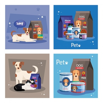 Illustration set of food for animals and elements