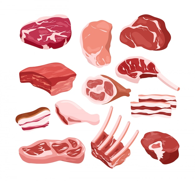 Illustration set of fresh tasty meat icons in  e,  objects on white background. gastronomic products, cook, steak, bbq concept.