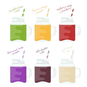 Illustration set of glass jars with colorful smoothies. natural healthy food. vitamin drinks smoothie