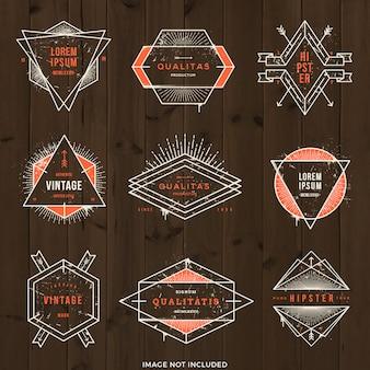 Illustration - set of grunge hipster signs and emblems.