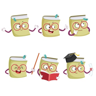 Illustration set of happy cartoon book mascot characters in different poses and emotions
