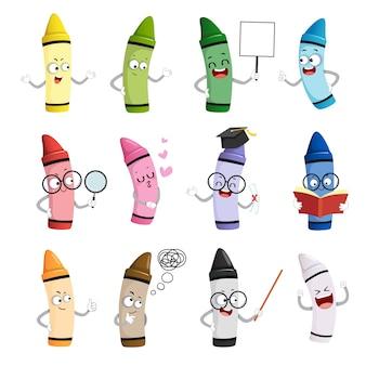 Illustration set of happy cartoon crayons