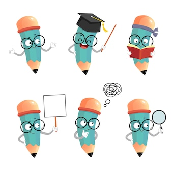 Illustration set of happy cartoon pencil mascot characters in different poses and emotions