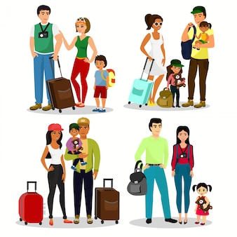 Illustration set of happy people travelling with kids. family travel together. father mother and children with luggage at the airport in a flat cartoon style.