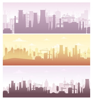 Illustration set of industrial backgrounds, banners. collection of manufacture landscapes with pollution, factory silhouettes in pastel colors, flat style.