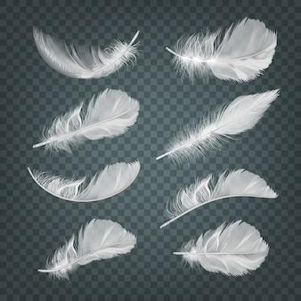Illustration of set of isolated realistic falling white fluffy twirled feathers on transparent background