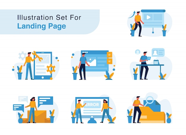 Illustration set for landing page