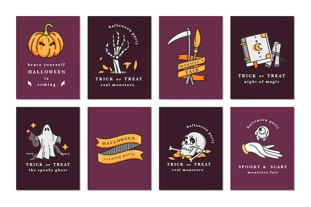 Illustration set of linear icons for happy halloween. happy halloween greeting cards.