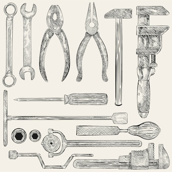 Illustration of a set of mechanic tools