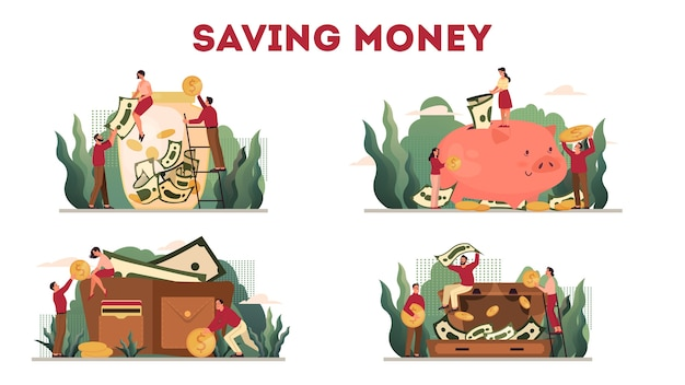 Illustration set of money protection concept, savings keeping. idea of economy and finance wealth. currency savings. golden coin falling and dollars in the piggy bank and wallet.
