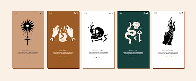 Illustration set mystical icons and emblems for mobile app or landing page