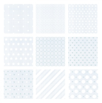 Illustration set of nine gentle faded blue retro seamless patterns on linen background.