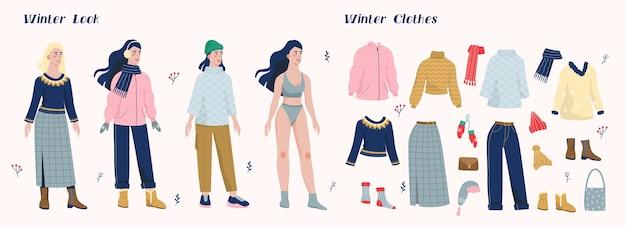 여자와 겨울 따뜻한 옷의 컬렉션의 그림 집합입니다. 젊은 여성을위한 캐주얼 시즌 옷의 패션 컬렉션. 추운 날씨에 코트, 부츠, 스카프, 모자를 착용하는 여자.