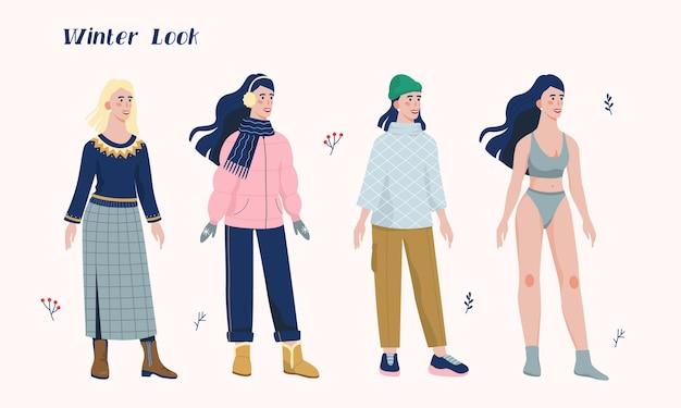 겨울 따뜻한 옷을 입고 여자의 그림 집합입니다. 젊은 여성을위한 캐주얼 시즌 옷의 패션 컬렉션. 추운 날씨에 코트, 부츠, 스카프, 모자를 착용하는 여자.